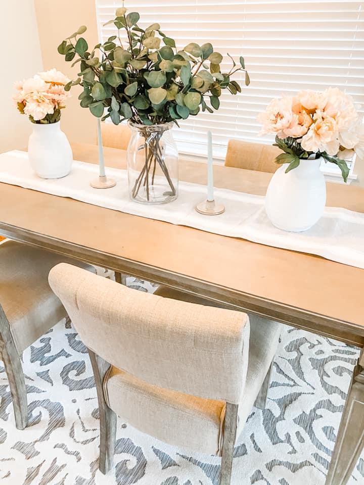 Bottom Dollar Design flower arrangement on the dining table